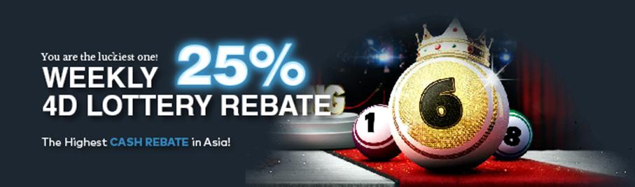 Weekly 25% 4D Lottery Rebate